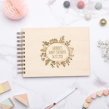 Personalised Floral Baby Shower Guest Book