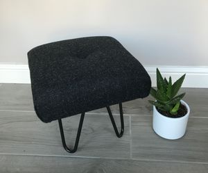 Harris Tweed Wool Footstool With Hairpin Legs - furniture