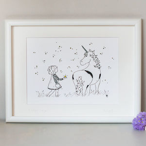 'I Believe…Do You?' Children's Unicorn Art Print - children's pictures & paintings