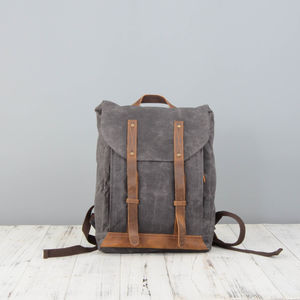 College Style Waxed Canvas Backpack For Students
