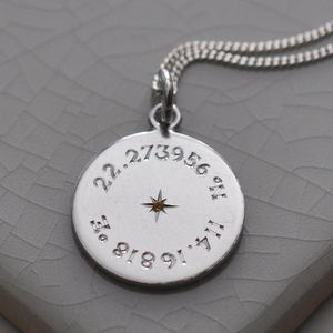 Birthstone Latitude And Longitude Necklace In Silver