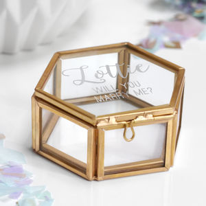 Personalised 'Will You Marry Me?' Hexagon Jewellery Box - jewellery storage & trinket boxes