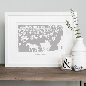 Country Wedding Print Or Papercut In Mount