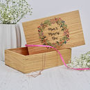 Solid Oak Keepsake Box With Floral Wreath
