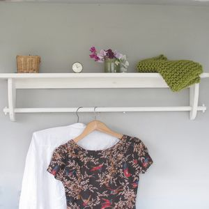 Vintage Styled Wooden Clothes Rail With Top Shelf - storage