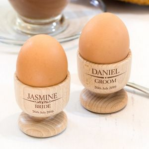 Personalised Wedding Wooden Egg Cup Set - egg cups & cosies