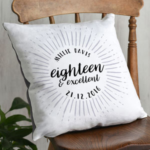 Eighteenth Birthday Celebration Cushion - 18th birthday gifts