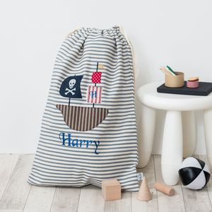 Pirate Ship Appliqued Laundry Bag - laundry bags & baskets