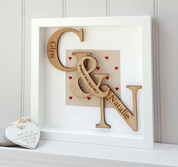 Wood Anniversary Oak Initials Artwork