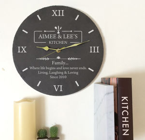 Personalised Slate Kitchen Clock - kitchen