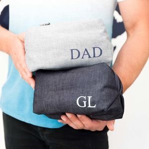 Personalised Men's Denim Wash Bag