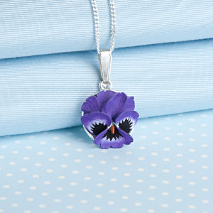 Pansy Pendant Necklace In Purple Or Vibrant Yellow