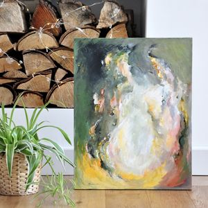 'Coffee By The Fire' Original Abstract Painting Earthy - canvas prints & art