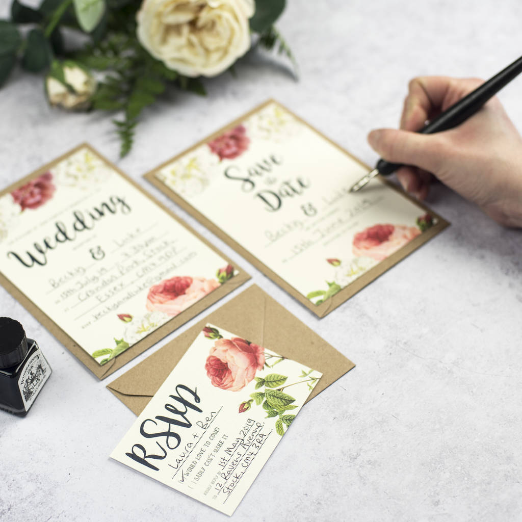 english garden diy wedding invitation set by