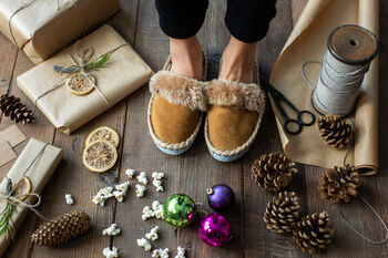 Tan Sheepskin Mules Slippers