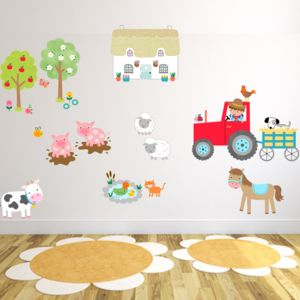 Farmyard Fun Fabric Wall Stickers - christening gifts