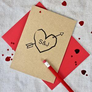 Cupids Arrow Personalised Card - anniversary cards