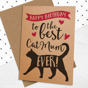 Best 'Cat Mum' Birthday Card