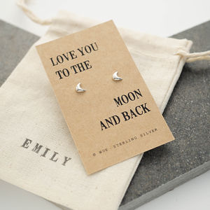 'Moon And Back' Silver Earrings - earrings