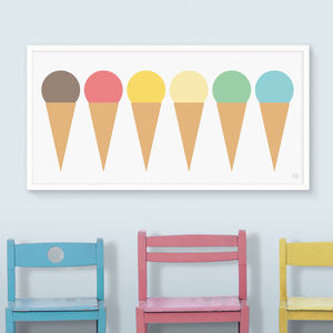 Ice Cream Cones Panoramic Print - posters & prints