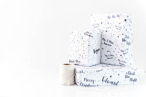 Personalised Christmas Star Wrapping Paper - wrapping paper