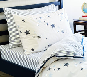 Stars Organic Single Bed Duvet Cover And Pillowcase - bedding & accessories