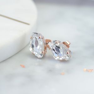 Asymmetric Bridal Stud Earrings With Swarovski Crystals