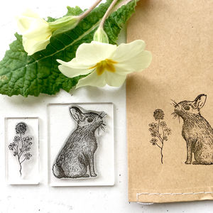 Rabbit And Clover Clear Rubber Stamps - new in baby & child