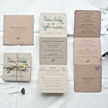 Floral Tri Fold Wedding Invitation
