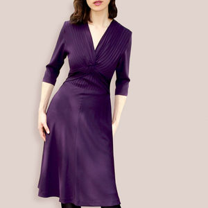 1940s Style Sleeved Day Dress In A Rich Currant Crepe - dresses