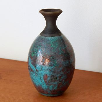 Hand Crafted Raku Teardrop Bottle