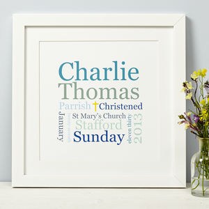 Personalised Christening, Baptism Or Naming Day Print