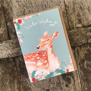 Doe Deer Christmas Card Blank Inside