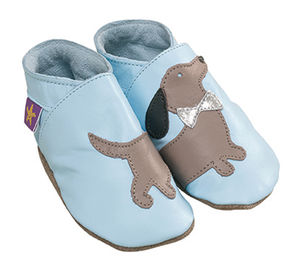 Boys, Girls Soft Leather Baby Shoes Blue With Daschund