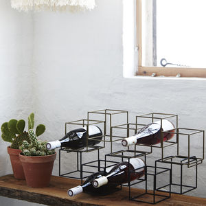 Metal Cube Wire Bottle Holder - wine racks & storage