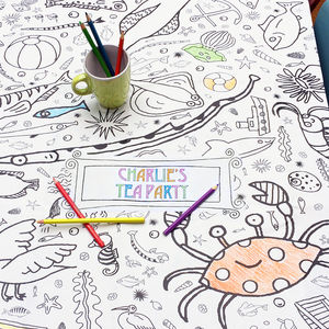 Colour In Poster Tablecloth Seaside *Personalise It