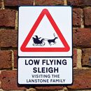 Low Flying Sleigh Personalised Christmas Road Sign