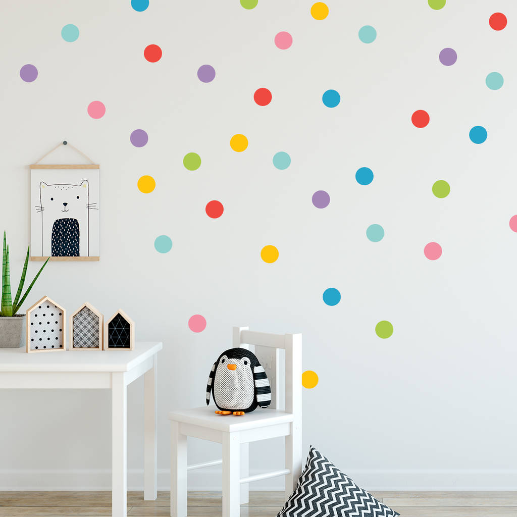 Colourful Polka Dots Wall Sticker Set 35 Small Dots