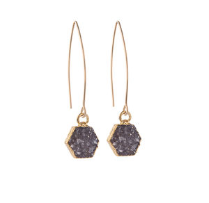 Mini Hexagon Drusy Crystal Dropper Earrings