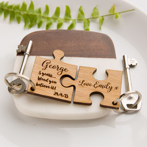 Personalised Jigsaw Oak Keyring Wood You Believe It