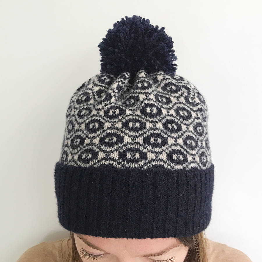 ladies knitted lambswool winter bobble hat by little knitted stars ... 91ae8b6b5f4