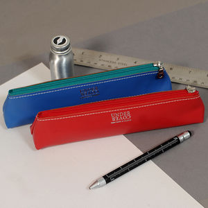 Coloured Leather Pencil Case - writing