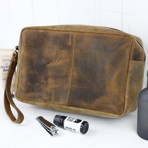 Leather Wash Bag - bathroom