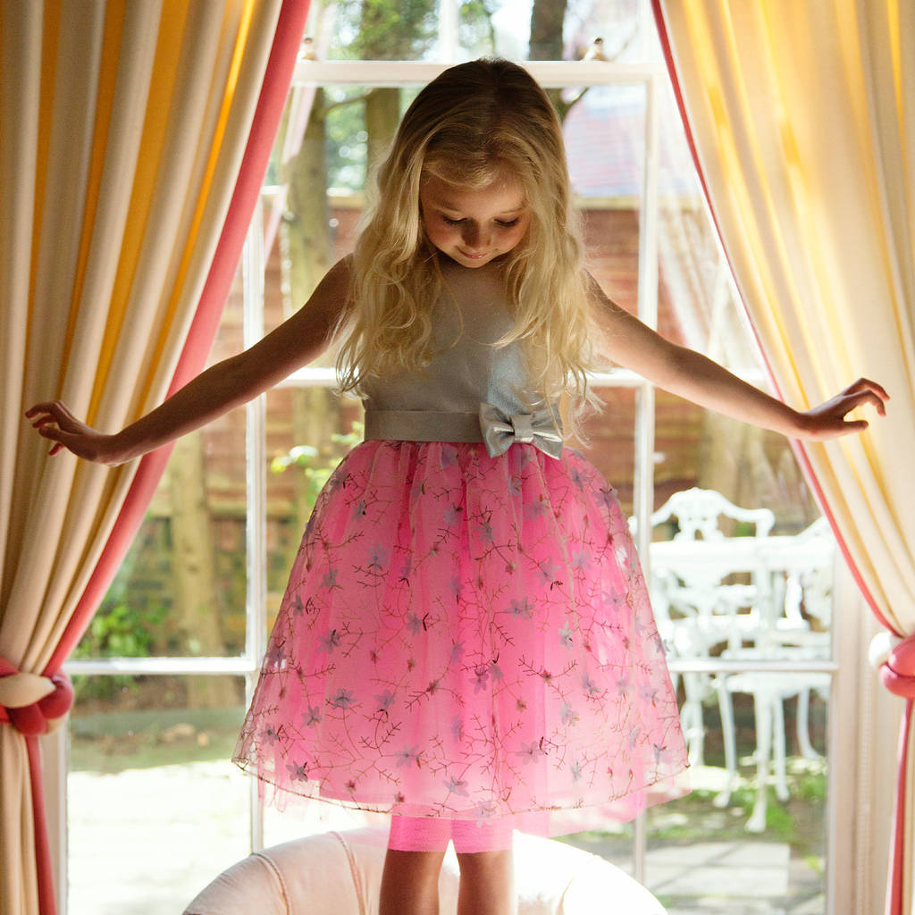 pink girls dress party occasion dress with embroidery by holly ...