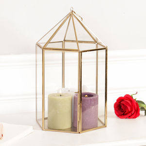 Antique Gold Hexagonal Candle Display