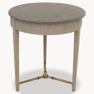 Woodcroft Colonial Grey Round Stone Top Side Table - side tables