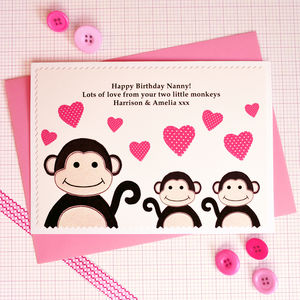 'Monkeys' Birthday Card From One,Two Or Three Children