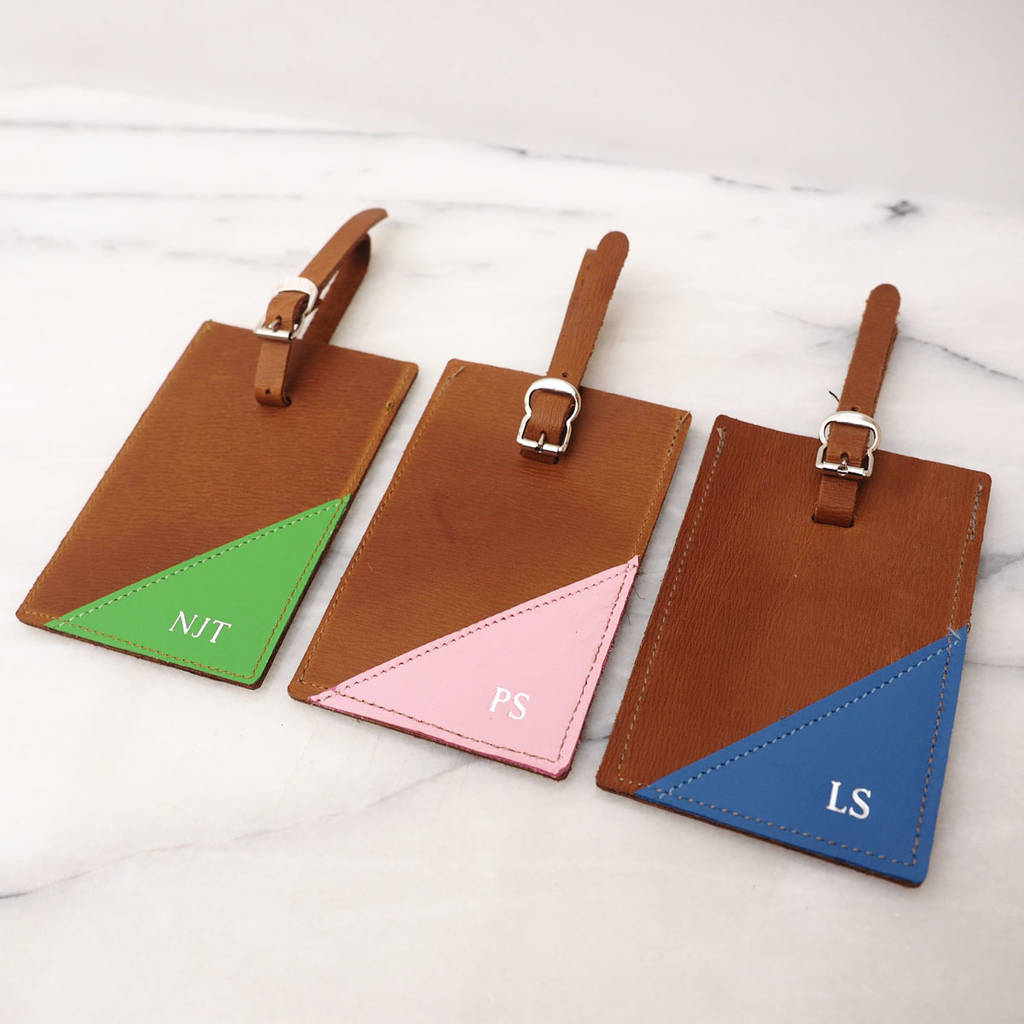 personalised leather luggage tag by stabo  de6709a28
