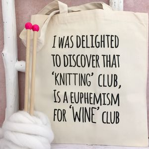 'Knitting And Wine Club' Knitting Bag - bags