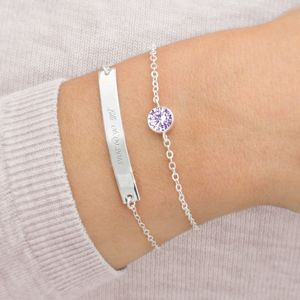 Personalised November Bar And Birthstone Bracelet Set - bracelets & bangles